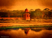 Across the Yamuna River From the Taj Mahal Morning Mist  6 signed