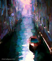 Albergo Bel Cito On Venice Canal  painted signed 2