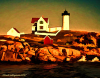 Cape Neddick Light watercolor  5 signed