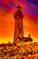 Lighthouse and Yellow Flowers Oregon Coast  6 signed