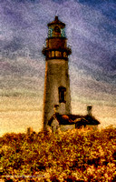 Lighthouse and  Flowers Oregon Coast 1 signed