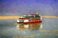 River Boat Underway Burma painted signed