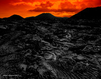 Black Lava Field At Sunset Santiago Island Galapagos 1signed