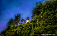 Lighhouse On A Hill Oregon  signed