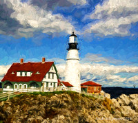 Cape Elizabeth Light  painted signed